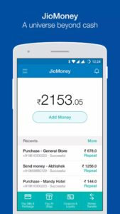 JioMoney Wallet mobile app for mobile recharges