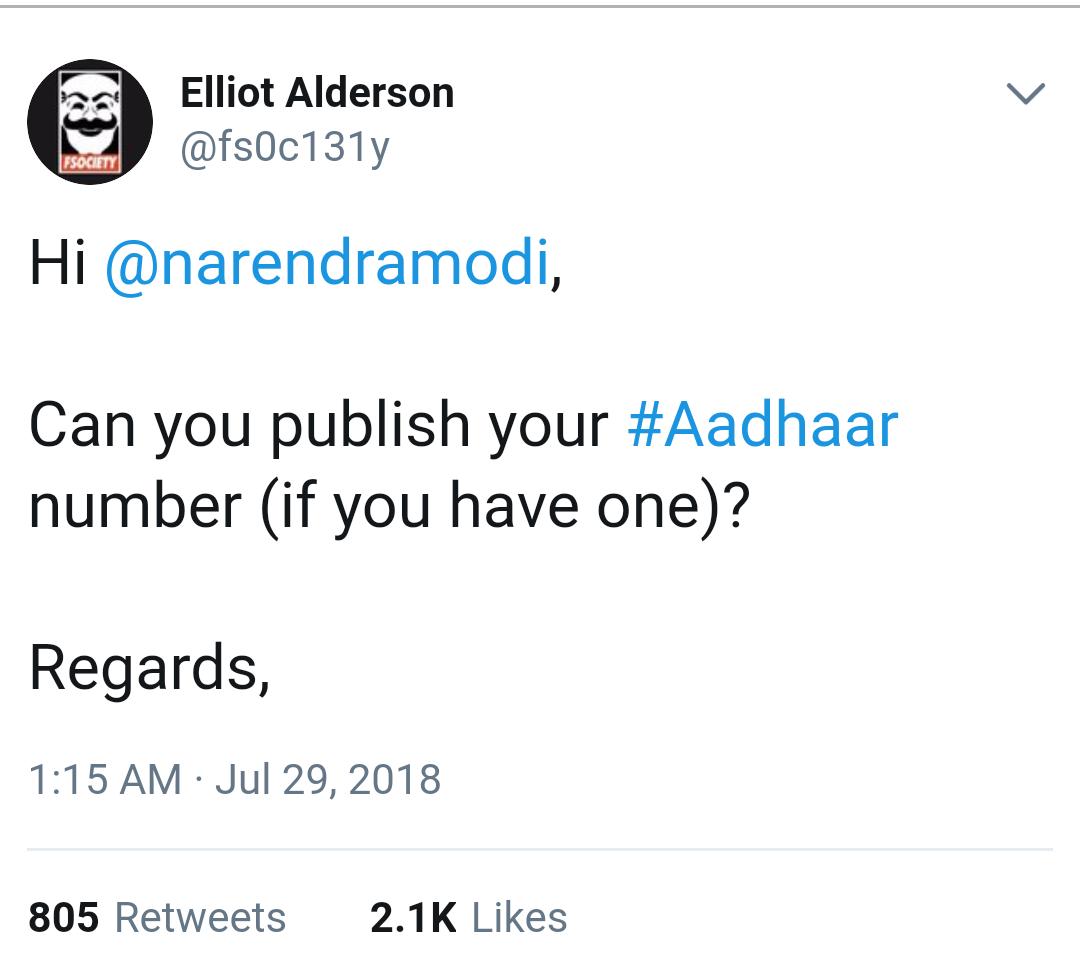 Elliot Anderson tweet to Narendra Modi